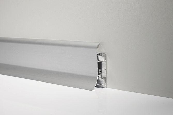 Металлический плинтус Profilpas Metal Line 98/7 анодированный алюминий, серебро 26*70*2000 мм.