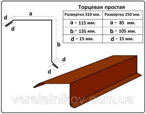 Планка торцевая простая - 250 мм (2 м)