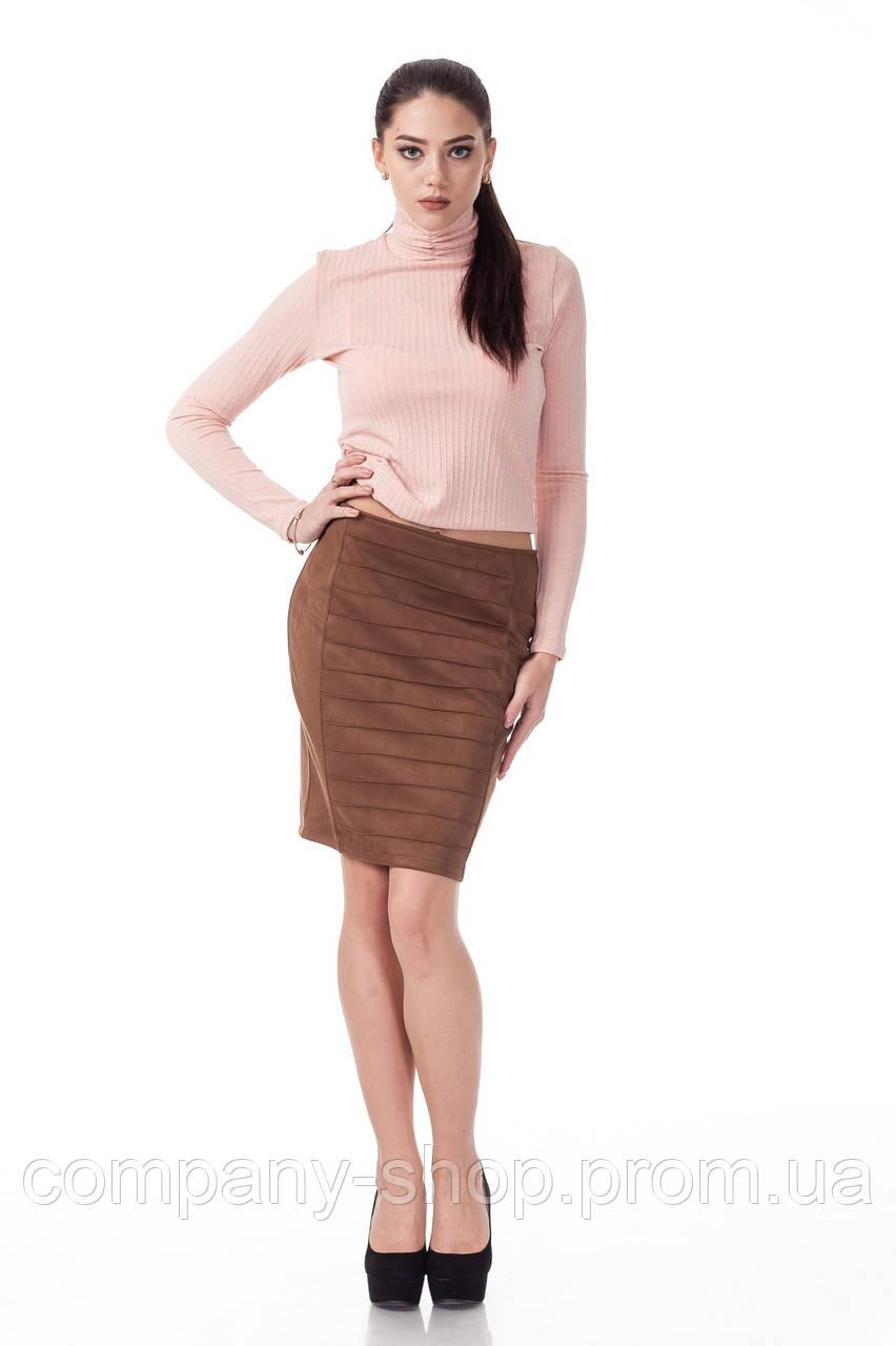 Женская замшевая юбка с драпировкой. Модель Ю090_коричневый замш.