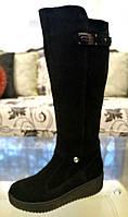 Сапоги из натуральной замши, цвет - черный, фото 1