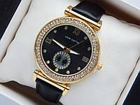 Женские часы Louis Vuitton на кожаном ремешке, два ряда страз, дополнительный циферблат, L620, фото 1