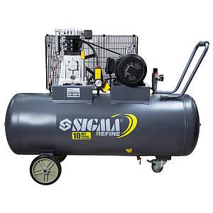 Компрессор ременной ll 380В 3кВт 550л/мин 10бар 150л 2 крана Refine Sigma 7044231