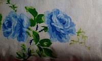 Евро комплект постельного белья из фланели Голубая роза