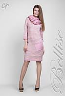 Женское вязаное платье по колено меланж Пудра, фото 1