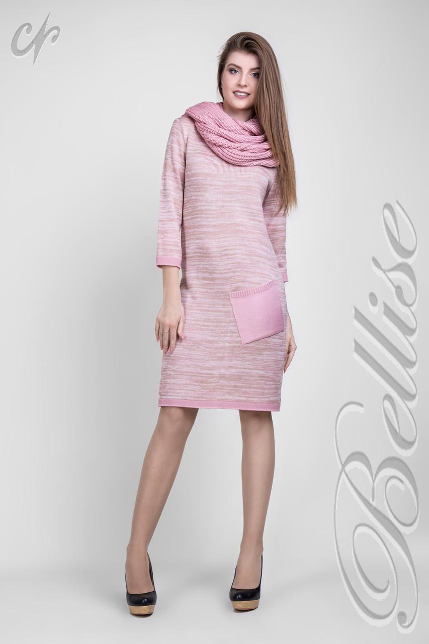 Женское вязаное платье по колено меланж Пудра