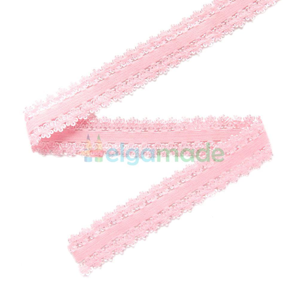 Тесьма АЖУРНАЯ эластичная для повязок, РОЗОВАЯ, 23 мм