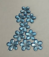 Цветок нежно-голубой прозрачный с серебристым дном 14 мм, уп. 15 шт.