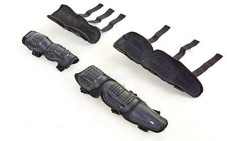 Комплект мотозащиты (колено, голень + предплечье, локоть) 4шт FOX M-6337 (пластик, PL, черный), фото 2