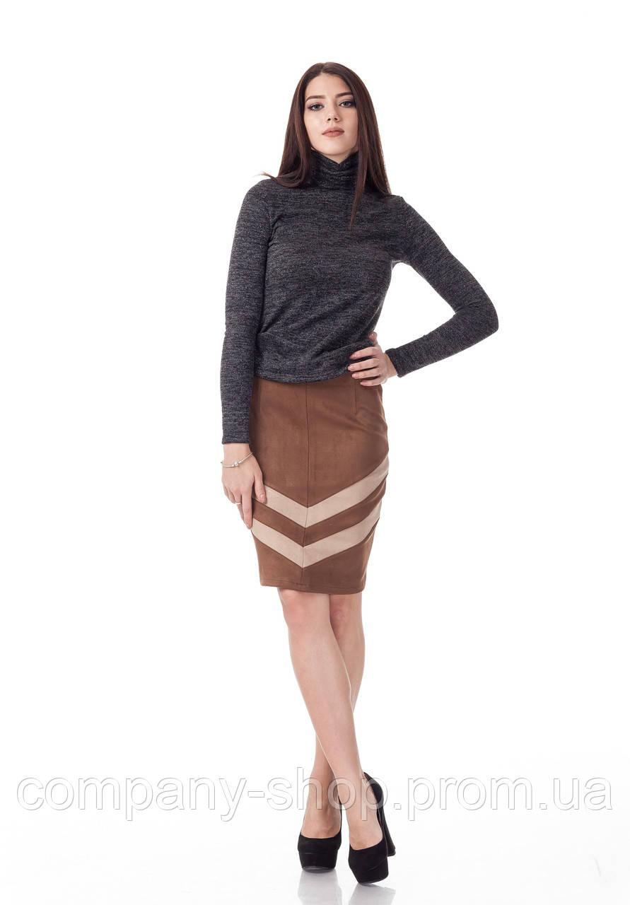 Женская замшевая юбка с полосками встык. Модель Ю091_коричневая замша., фото 1