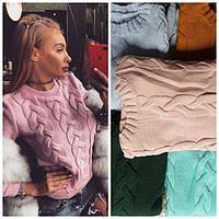 Женский вязаный свитер Косичка