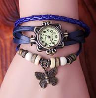 Часы-браслет на кожаном ремешке с синим ремешком