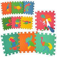 Детский развивающ Коврик пазлыM0387 - EVA, птицы, 10дет.(30*30см), толщина 9мм, в пленке 30*30*8.5см