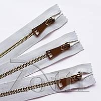 Молния (змейка,застежка) металлическая №5, размерная, обувная, белая, с золотым бегунком № 115 - 11 см