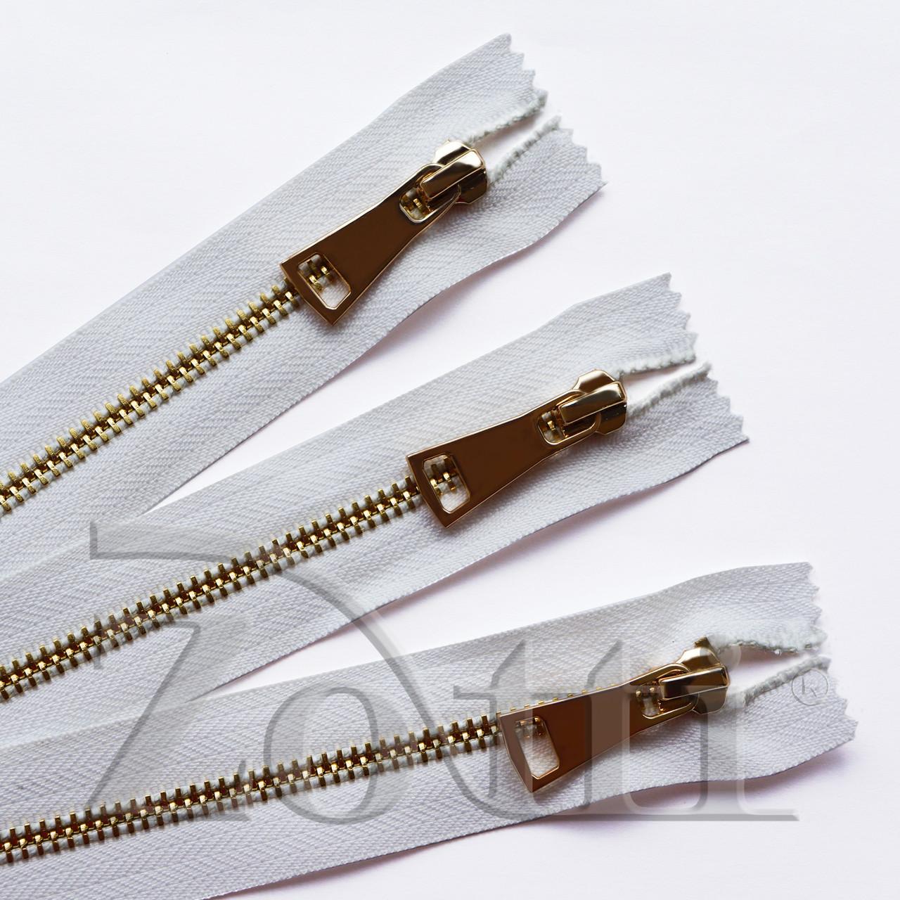 Молния (змейка,застежка) металлическая №5, размерная, обувная, белая, с золотым бегунком № 115 - 16 см