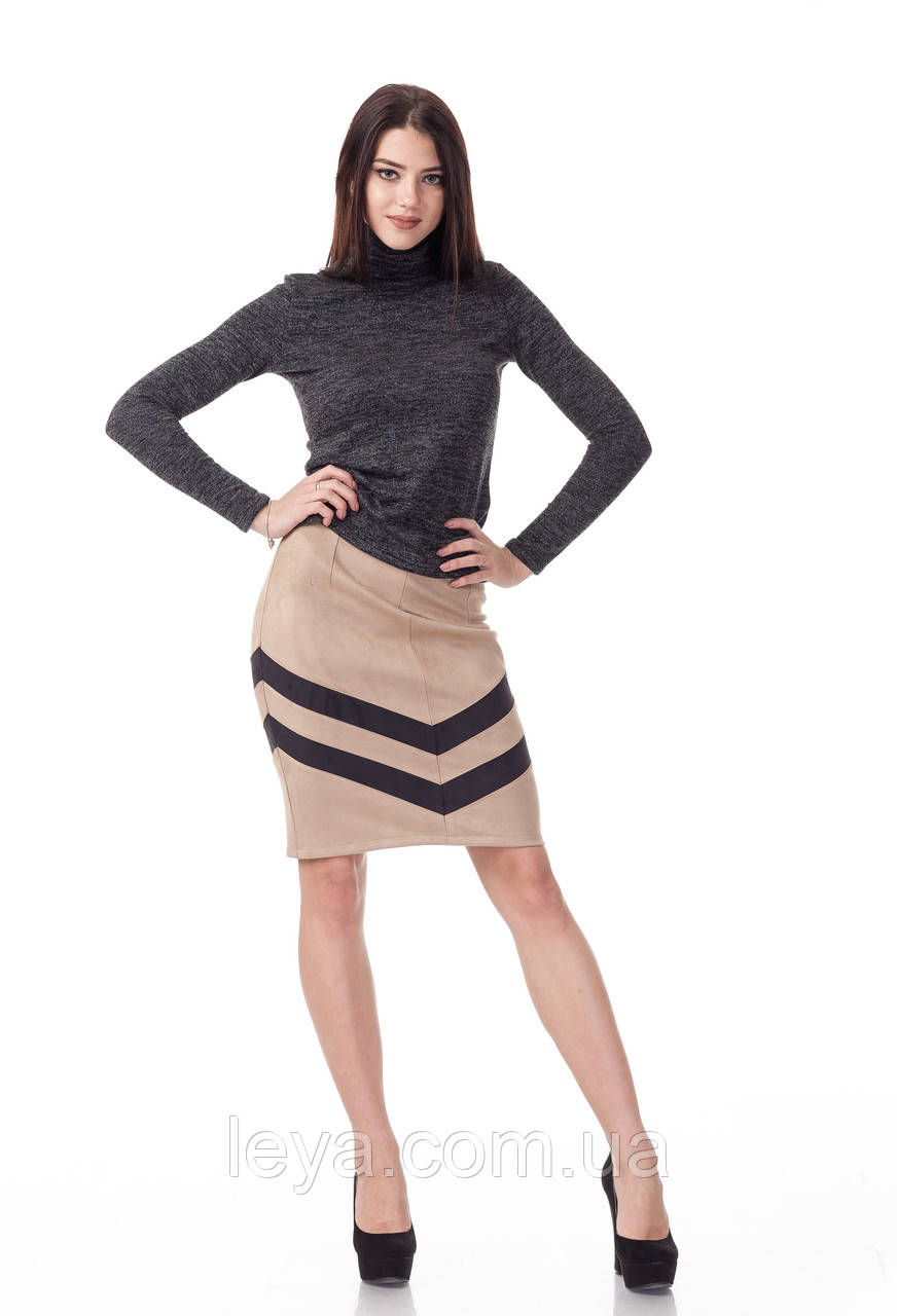 Женская замшевая юбка с полосками встык. Модель Ю091_бежевая замша.
