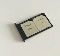 Лоток сим карты для Xiaomi Mi4c, Mi4i (2 sim) (Black) Original