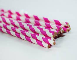 Бумажные трубочки для напитков, 25 штук розовые