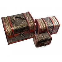 Шкатулка сундучок деревянная набор 3 шт