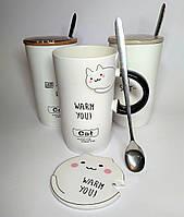 Чашка Кошка белая, с крышкой, 450 мл