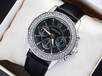 Женские наручные часы Geneva 2 ряда страз, черный ремешок, фото 1