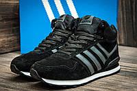 Зимние кроссовки Adidas замша, мужские, черные, на меху