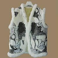 Женская тёплая жилетка из овечьей шерсти (абстракция)