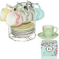 Сервиз чайный 12 предметов на стойке 'Элегантность' (чашка-230мл, блюдце-15)