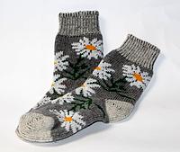 Женские зимние носки из овечьей шерсти - ромашки