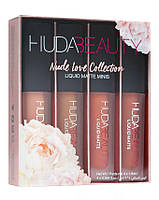 Набор жидких мини-помад Huda Beauty Nude Love Collection, (4 шт.), фото 1
