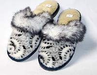Комнатные женские тапочки из овечьей шерсти с опушкой