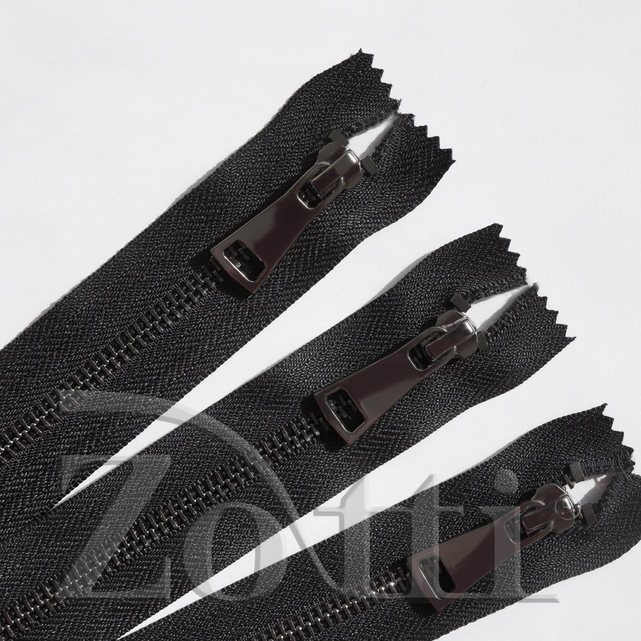 Молния (змейка,застежка) металлическая №5, размерная, обувная, черная, с темным бегунком № 115 - 35 см