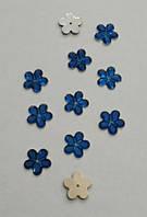 Цветок синий прозрачный с серебристым дном 14 мм, уп. 15 шт.