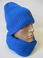 Вязанные зимние шапка и хомут мужские.