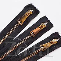 Молния (змейка,застежка) металлическая №5, размерная, обувная, черная, с золотым бегунком № 115 - 10 см, фото 1