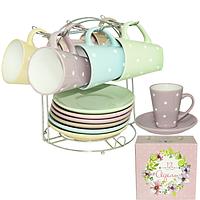 Сервиз чайный 12 предметов на стойке 'Адель' (чашка-230мл, блюдце-15) 1464-6