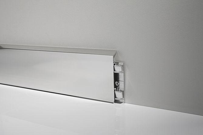 Металлический плинтус Profilpas Metal Line 95/7 анодированный алюминий, серебро 10*70*2000 мм.