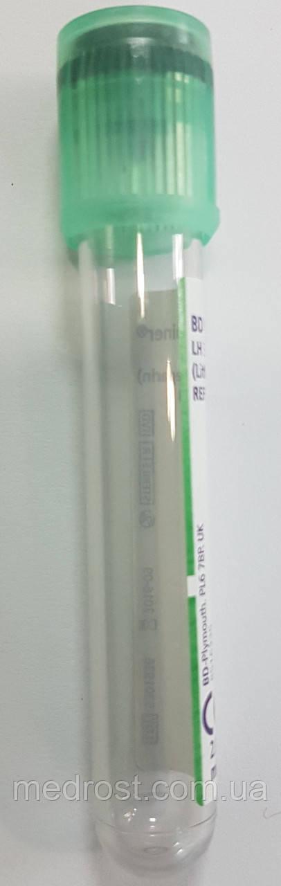 Пластиковые пробирки BD Vacutainer® с гепарином лития с зеленой крышкой BD Hemogard™, 2мл, 13x75мм