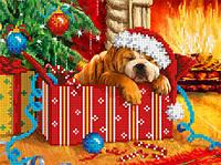 """Схема для вышивки бисером/крестом на габардине """"Новогодний подарок"""""""