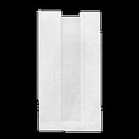 Пакет бумажный с прозрачной вставкой  390*140*50/40 100шт (108) Белый