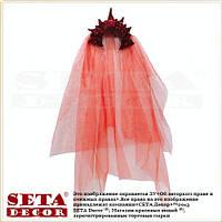 Корона Снежная королева красная с фатой новогодняя на обруче