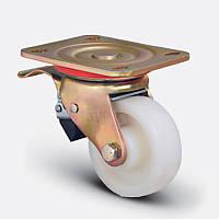 Поворотное колесо с тормозом диаметром 125 мм из полиамида с шариковым подшипником нагрузка 400 кг