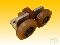 Роликовая, направляющая, GG 6 для противовеса, Bock Alu, 115 x 65 x 78 мм, 2 x колесика ø 70 x 20/12 мм, 1 х колесико ø 50 x 15 мм, накладка VU 80 °
