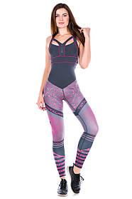 Комбинезон для фитнеса Totalfit F26-P39 M Серый с розовым