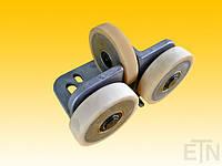 Направляющая ролика, ETN-FK-ST 1 ,  для лифта, Bock Alu, 190 x 115 x 100 мм, 2 x колеса ø 100/20 x 25 мм + 1 x ролик ø 100/15 x 20 мм, сердечники