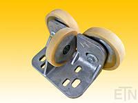 Направляющая ролика ETN-FK-ST 4 ,  для лифта Bock Alu, 190 x 115 x 100 мм, 2 x колеса ø 125/20 x 30 мм, 1 x ролик ø 100/15 x 20 мм, стальная сталь,