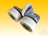 Направляющая ролика ETN-FK-ST 3 ,  для лифта, Bock Alu, 190 x 115 x 100 мм, 2 x колеса ø 100/20 x 40 мм, 1 x ролик ø 100/15 x 20 мм, стальная сталь,