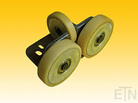 Направляющая ролика ETN-FK4-AL ,  для лифта, Bock aluminium 190 x 115 x 100 мм, 2 x колеса ø 125/20 x 30 мм, 1 x ролик ø 100/15 x 20 мм, ролики с