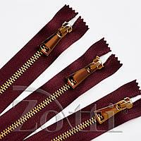 Молния (змейка,застежка) металлическая №5, размерная, обувная, бордовая, с золотым бегунком № 115 - 30 см, фото 1