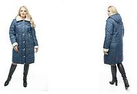 Зимнее женское пальто больших размеров прямого кроя