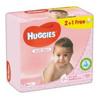Влажные салфетки Huggies Soft Skin 2+1, 3x56 шт.